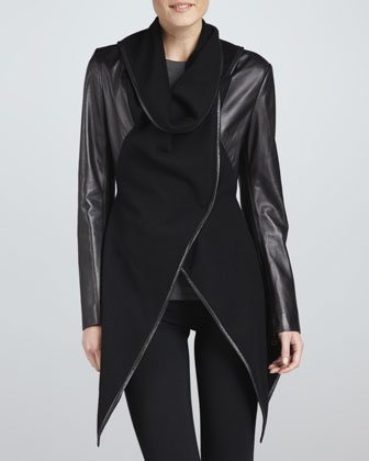 Leather/Wool Combination Wrap Jacket