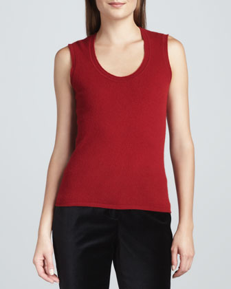 Sleeveless Cashmere Top, Red