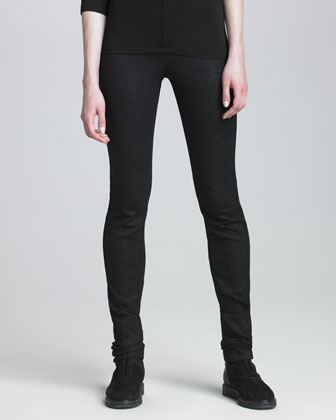 Faux-Leather Seamed Leggings