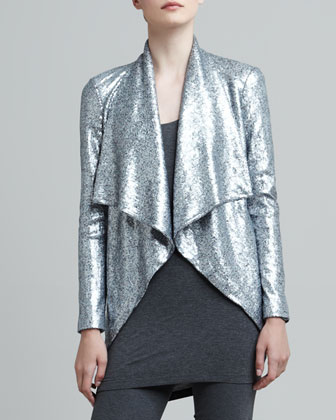 Sequined Cascade-Collar Jacket