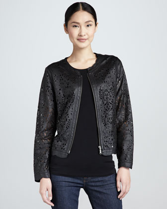 Perforated Lambskin Lace Jacket