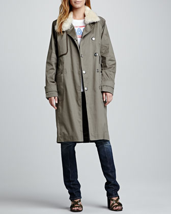 Shearling-Collar Trenchcoat