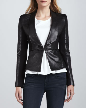 Rebecca Leather/Ponte Jacket