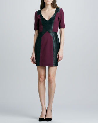 Harriet Leather/Ponte Fitted Dress
