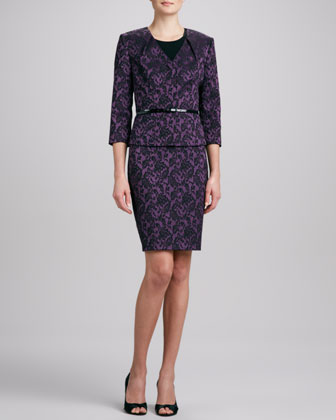 Jacquard V-Neck Skirt Suit
