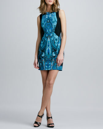 Colorblock Paisley-Print Sheath Dress