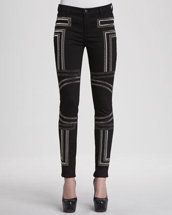 Embroidered Power-Stretch Jeans