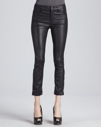 Anja Cuffed Leather Skinny Pants