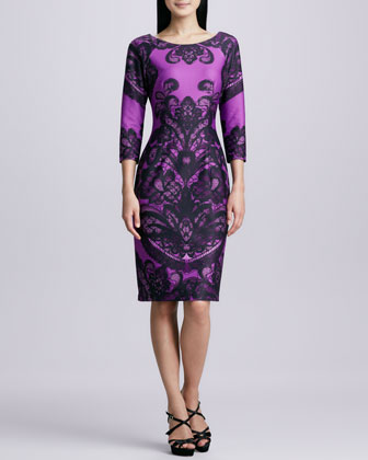 Boat-Neck Printed Sheath Dress, Purple
