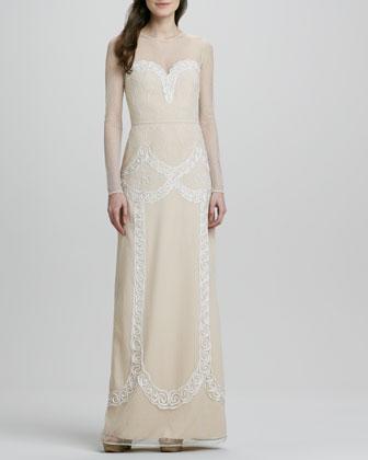 Luisa Swiss-Dot Long-Sleeve Illusion Gown