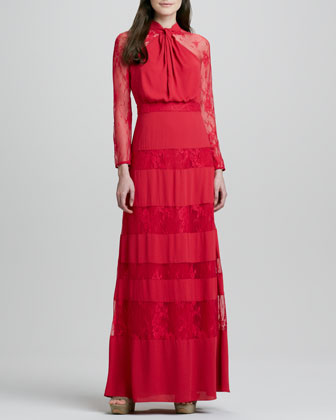 Regalia Lace-Inset Long-Sleeve Gown, Red