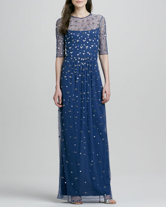Beaded-Overlay Half-Sleeve Illusion Gown