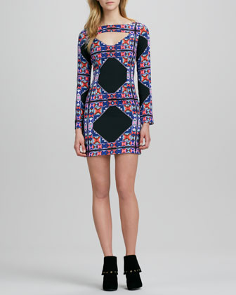 Printed Long-Sleeve Dress with Cutout