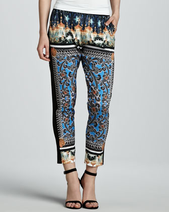 Arabesque Scarf Printed Ankle Pants