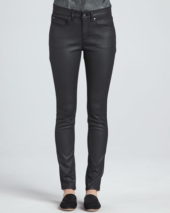 Waxed Stretch Skinny Jeans, Women's