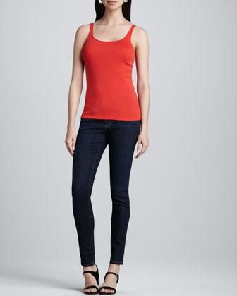Merino Links Cardigan, Slim Tank, Gauzy Wool Pucker Scarf & Skinny Jeans, ...
