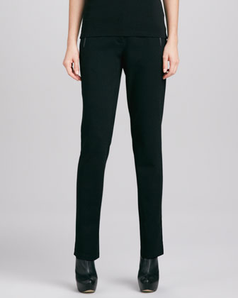Slim Ponte Leather-Trim Pants