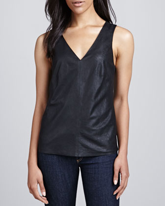 Lanis V-Neck Leather Tank