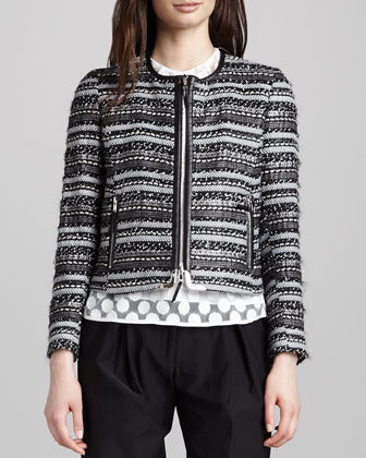 Harper Leather-Trim Tweed Zip Jacket