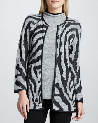 Jacquard Knit Sweater Jacket