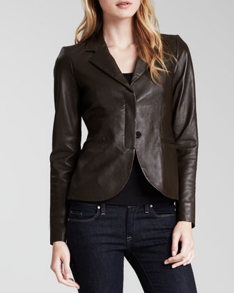 Two-Button Leather Blazer