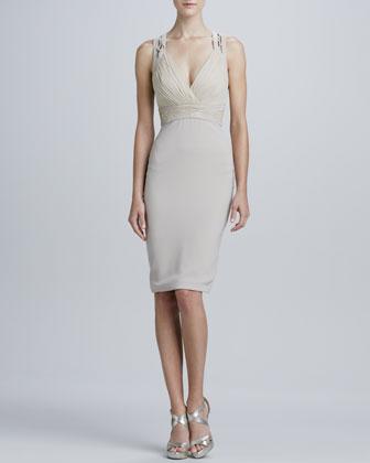 Sleeveless V-Neck Cocktail Dress