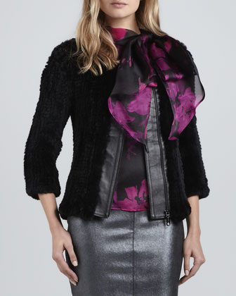 Three-Quarter-Sleeve Knitted Fur Jacket