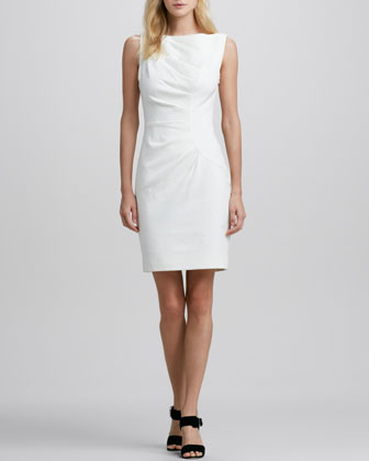 Sleeveless Tucked Sheath Dress