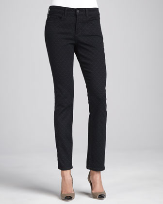 Marilyn Straight-Leg Diamond-Print Jeans