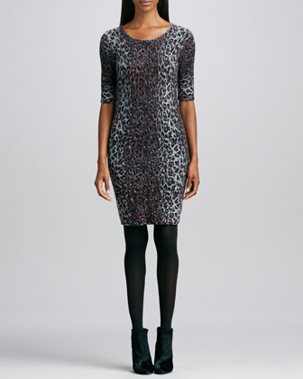 Cashmere Leopard-Print Dress