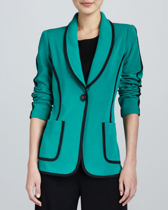 Modern Faux-Suede-Piped Jacket, Petite