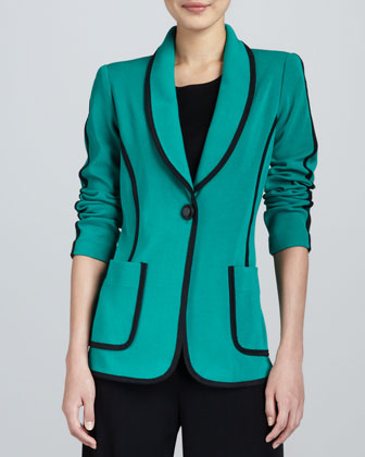 Modern Faux-Suede-Piped Jacket, Women's
