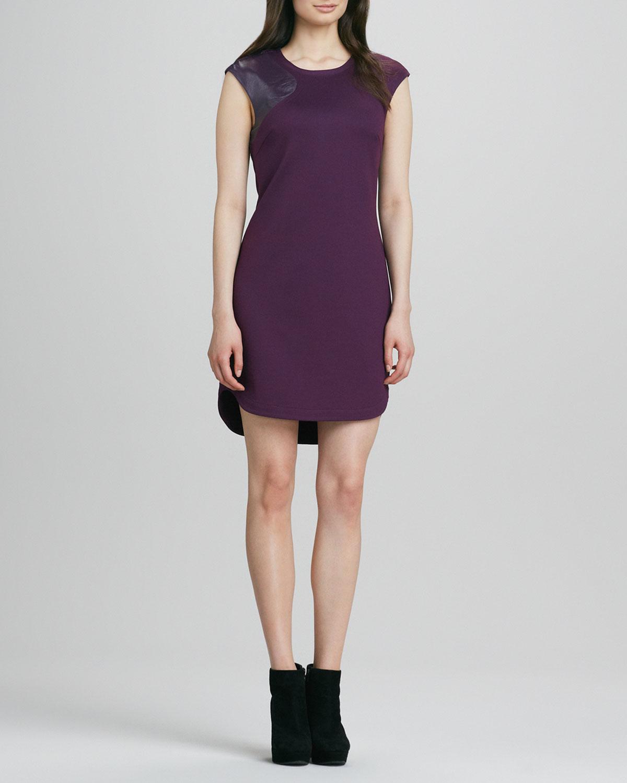 Womens Leather Shoulder Ponte Dress   Trina Turk   Black plum (8)