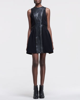 Rae Mix-Fabric & Leather Dress