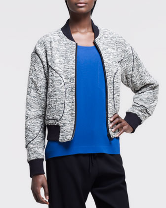 Heathered Aviator Bomber Jacket