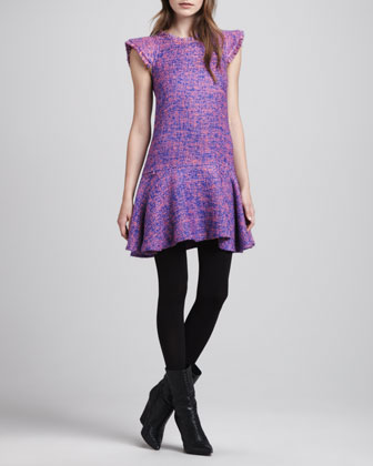 Adalina Flare-Hem Tweed Dress