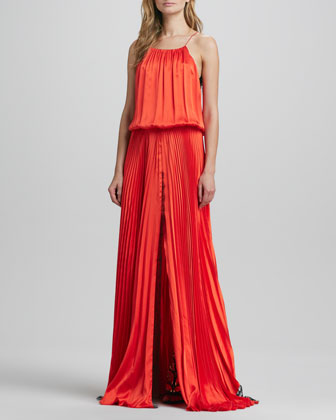 Liana Lace-Back Silk Pleated Maxi Dress