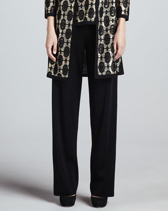 Brocade Jacquard Long Jacket, Tank & Boot-Cut Pants