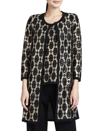 Brocade Jacquard Long Jacket, Women's