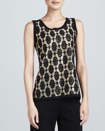 Two-Tone Brocade Jacquard Tank