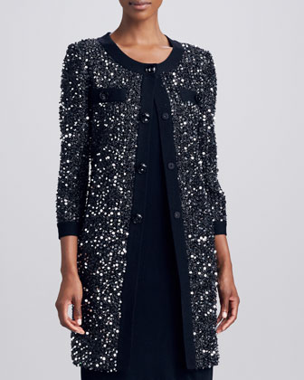 Tinsel Sequined Long Coat