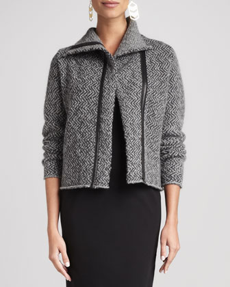 Herringbone Zip-Front Jacket & Ponte Leather-Trim Sheath Dress