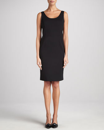 Ponte Leather-Trim Sheath Dress, Petite