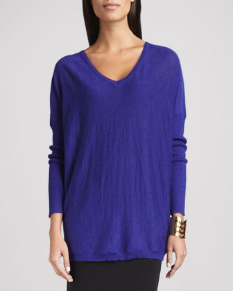 Royal Alpaca V-Neck Boxy Tunic, Petite