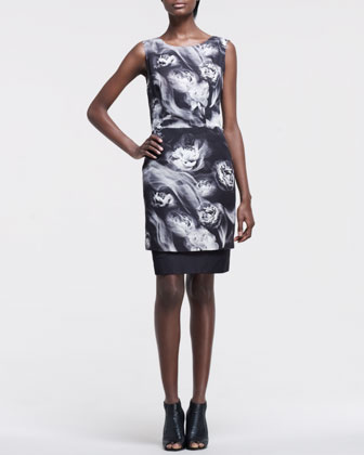 Smoke-Print Organza Dress