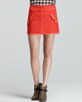 Snap-Pocket Short Bomber Skirt