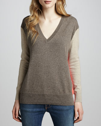 Colorblock Boyfriend Cashmere Sweater