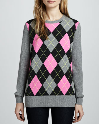 Argyle Elbow-Patch Boyfriend Cashmere Sweater