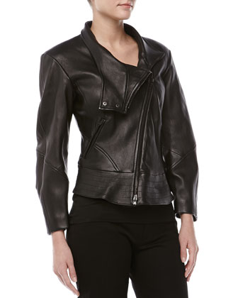 Leather Plonge Biker Jacket