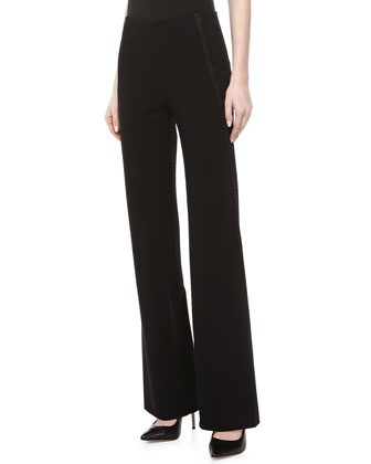 Wide-Leg Ribbon-Stripe Pants